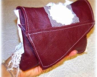 Leather Clutch LINDSAY, burgundy leather, lace roses,pockets,magnetic snap, large wallet, make up case