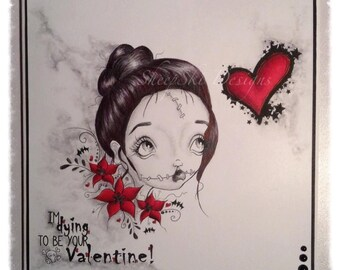 INSTANT DOWNLOAD Valentines Day Creepy Cute Big Eye Art Digi Stamp - Love Sick Heidi Image No. 280 by Lizzy Love
