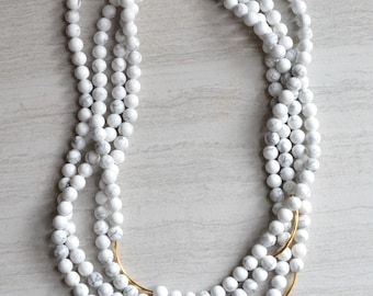 Tressa- Long Necklace White Necklace Statement Necklace Howlite Necklace Gold Necklace
