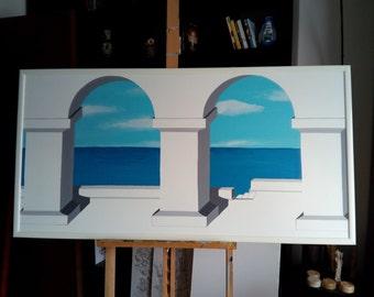 """Picture """"Terrazza a mare"""" trompe l'oeil"""