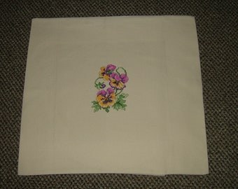 Completed Cross Stitched Pillow Cover~Pansies