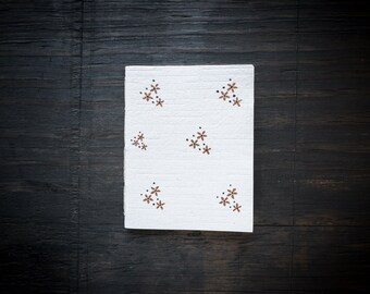 Small Handcrafted Softcover Notebook, Handmade Recycled Paper Cover, Hand Painted Floral Design, Lined White Recycled Paper, Eco Friendly