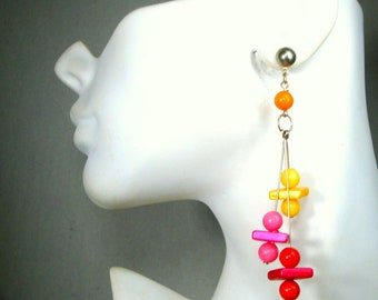 1960s POP Psychedelic MOD Long Earrings, Red, Hot Pink, Orange, Yellow Bead Dangles,  Posts,  Fun Square and Round Resin  Beads Pierced