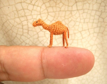 Micro Mini Camel Amigurumi - 1/2 Inch Miniature Crochet Stuffed Animals - Made To Order