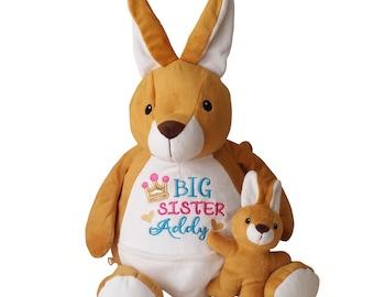 Personalized Kangaroo Stuffed Animal, Big Sister Gift, Little Sister Soft Plush Toy