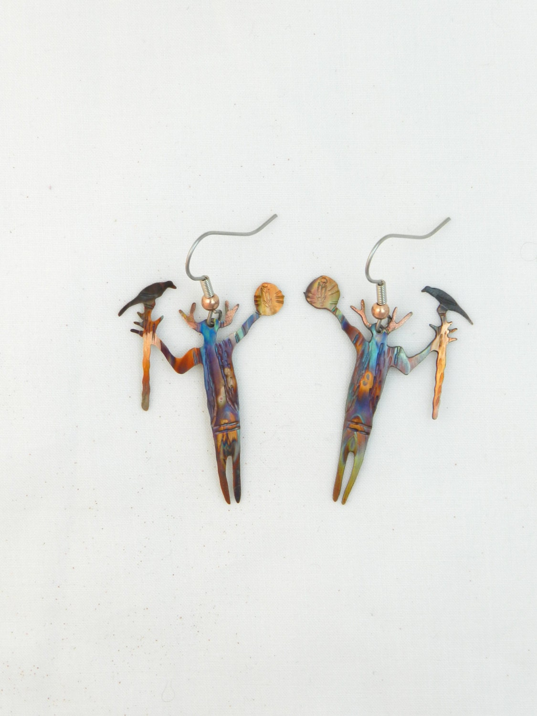 Shaman Earrings Desert Southwest Art Medicine Man Jewelry