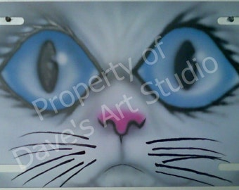 Custom airbrushed cat license plate  feline  kitty