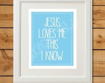 Jesus Loves Me - Printable Art - Blue Nursery Art