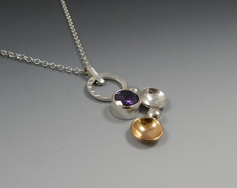 Sale Mixed Metal Concave Amethyst Necklace