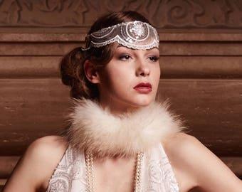 Wedding art deco headband  Zelda , collection Alisa  ,,Great Gatsby,,