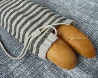 linen baguette bag, Baguette tote, Linen bread bag, Linen french bread bag.