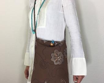 Brown Gypsy/ Boho/ Hippie/ Folk/ Peasant/ 100% Cotton/ Embroidered/ Crossbody/ Messenger Bag