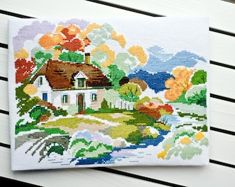 Completed counted cross stitch Finished embroidery Handmade needlework Country house Autumn Fall Home decor Wall hanging Rustic art