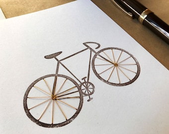 Bicycle - hand stitched blank greeting card. Free shipping within the US.