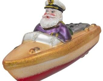 "5"" (L) Captain Santa on the Boat Blown Glass Christmas Ornament"