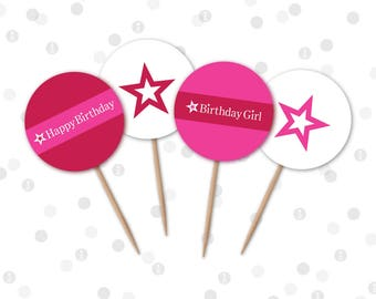 INSTANT DOWNLOAD - Cupcake Toppers - American Doll Printable Party Collection by InkoHaus - 4 Designs - PDF