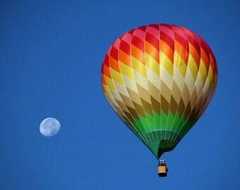 Hot Air Balloon Photo of a balloon along with the moon at the 2017 Albuquerque Balloon Fiesta in New Mexico