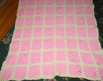 Pink And White Crochet Afghan -  41 x 88 Approx. - Read Below
