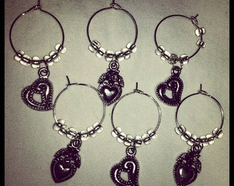 Set of 6 Silver Heart Wine Glass Charms