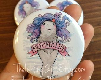 Manatee Mermaid Button Pin