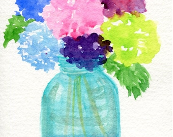 Hydrangeas Original watercolor painting,  still life flowers painting in canning jar 4 x 6 Flowers in Aqua Mason jar, floral , hydrangea art