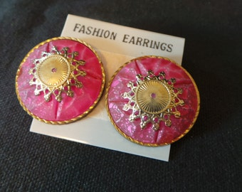 CLEARANCE Vintage Pink And Gold Jelly Resin Stud Earrings