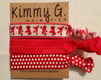 Elmo themed elastic hair ties/elmo party favors/kids party favor