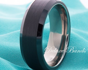 Black Titanium Ring Titanium Wedding Band Mens Womens Brushed Beveled Edges 8mm Anniversary Promise Engagement Comfort Fit Laser Engraving