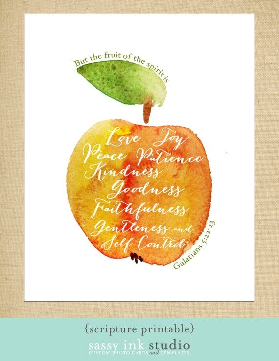 The fruit of the spirit printable 8x10 art print instant for Fruit of the spirit goodness craft