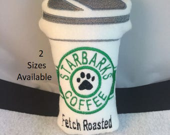 Dog Toy Stuffed Starbarks Squeaky Coffee Cup 2 Sizes non-pill Fleece Fabric Puppy Toy Handmade Pet Gift Pet Pampered Pup Treat Grande Venti