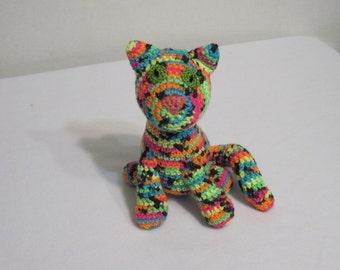 Colorful Kitty, Crochet Kitty, Amigurumi Kitty, Stuffed Animal