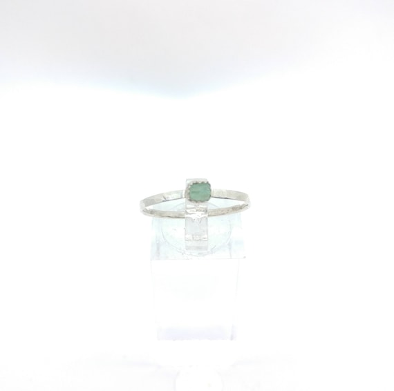 Raw Aquamarine Stacking Ring   Sterling Silver Ring Sz 10.5   Raw Blue Aquamarine Ring   Raw Stone Ring   Raw Stone Stackable Ring