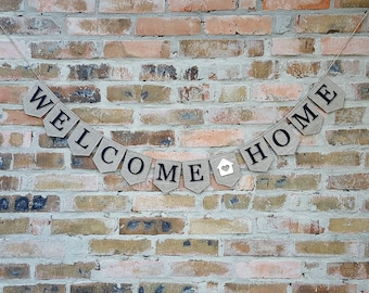 welcome home banner, Welcome Burlap Banner, welcome home sign, welcome banner, Home Decor, burlap banner, Welcome Sign, Welcome Garland