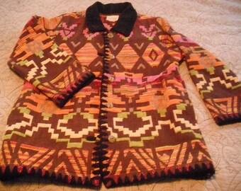 Vintage Navajo Aztec Pattern Jacket  ... Coat  Womens M medium indie hipster NICE