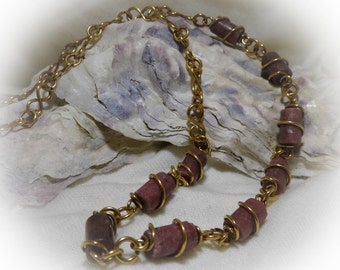 Long Rhodonite 28 inch Antique Red Brass Handmade Infinity Chain Necklace