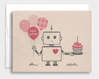 Robot Birthday Card - Red, Brown, Valentine, Kawaii, Brown Recycled Card
