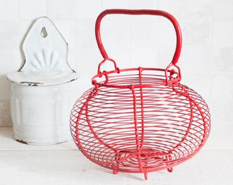 Large French Red Plastic-coated wire eggs basket - Vintage French farmhouse rustic decor - kitchen storage