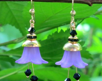 Graceful Moving Colorful Flower Earrings Nature Earrings. Purple and brass.Victorian style. Swarovski Crystal