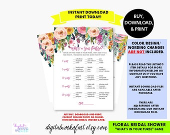 Floral What's in Your Purse Bridal Shower Game Printable PDF, Bachelorette Hens Party Fiesta Game, purse hunt raid, Instant Download