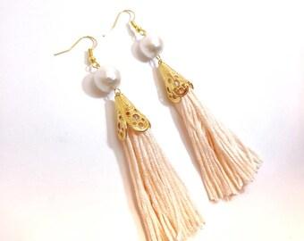 Tassel earrings, Bohemian earrings, Spring earrings,  Pearl earrings, Long tassel earrings, Plastic earrings,