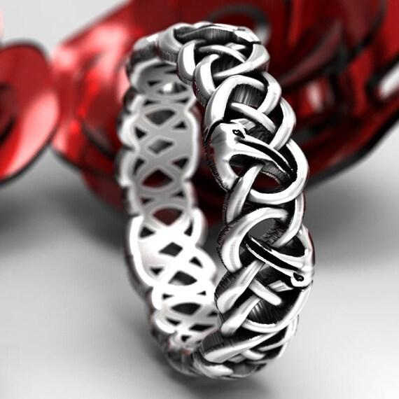 Sterling Silver Celtic Crane Ring, Bird Wedding Band, Mens Wedding Band, Irish Wedding, Crane Jewelry, Celtic Knot Ring, Custom Size 1152