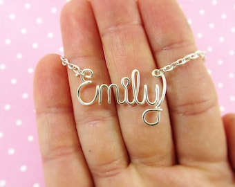 Name Necklace, Handcrafted in Wire,  Choose any Name or Word up to 9 letters, Silver, Gold, Rose Gold Personalized Necklace, Bridesmaid Gift