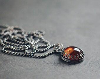Golden orange AMBER oxidized sterling silver necklace, crown bezel setting