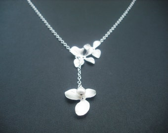Sterling Silver Chain - orchid flowers lariat