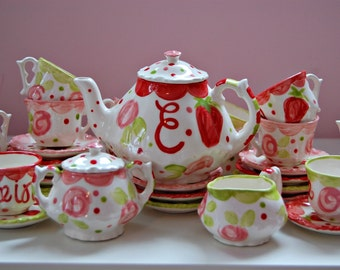 Girls tea set Strawberries & Flowers Pink Red Tea Party  Personalized Little Girl's Tea Set  Handpainted. . . Strawberry Shortcake Inspired