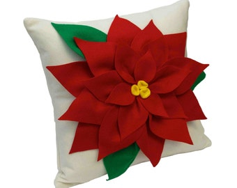 Christmas Poinsettia Pillow Cover Red and Creamy White Eco Felt - 18 inches