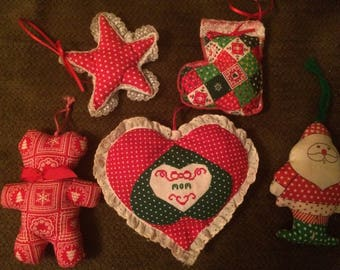 Lot Of 5 Plush Fabric Stuffed Ornaments - Holiday Christmas Decoration