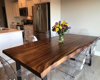 Live Edge Dining Table, Live Edge With Steel Legs, Unique Dining Table,  Custom