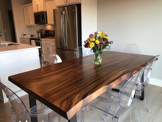 Live edge dining table, Live edge with steel legs, unique dining table, custom slab table, conference table
