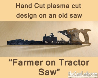 Metal Art Farmer on a Tractor with plow design - Hand (plasma) cut hand saw | Wall Decor | Garden Art | Recycled Art |   - Made to Order
